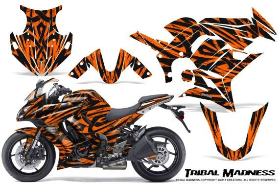 Kawasaki ZX 1000 10 13 CreatorX Graphics Kit Tribal Madness Orange 570x376 - Kawasaki ZX1000 Ninja 2010-2013 Graphics