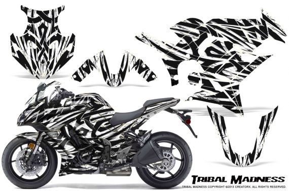 Kawasaki ZX 1000 10 13 CreatorX Graphics Kit Tribal Madness White 570x376 - Kawasaki ZX1000 Ninja 2010-2013 Graphics