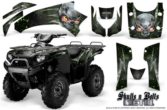Kawasaki Brute Force 750 CreatorX Graphics Kit Skulls n Bolts Metal Green Black 570x376 - Kawasaki Brute Force 750i-750 2004-2011 Graphics
