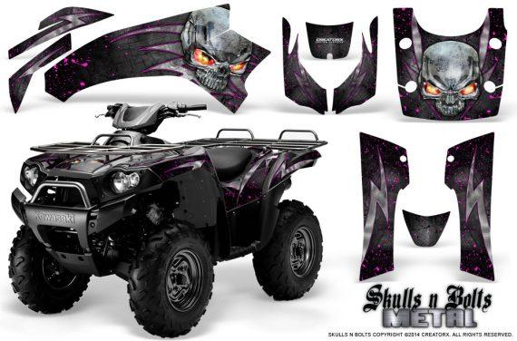 Kawasaki Brute Force 750 CreatorX Graphics Kit Skulls n Bolts Metal Pink Black 570x376 - Kawasaki Brute Force 750i-750 2004-2011 Graphics