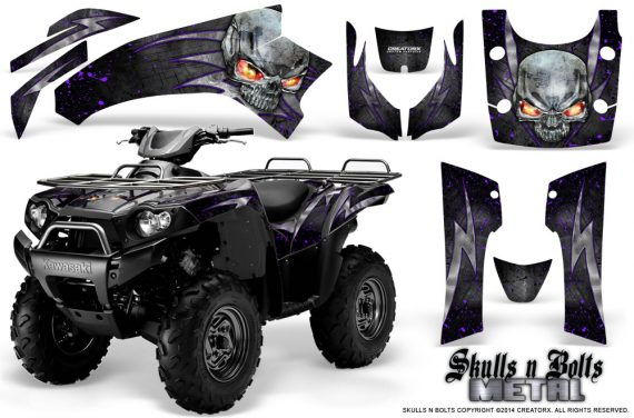 Kawasaki Brute Force 750 CreatorX Graphics Kit Skulls n Bolts Metal Purple Black 570x376 - Kawasaki Brute Force 750i-750 2004-2011 Graphics