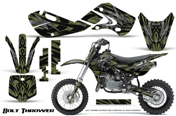 Kawasaki KLX110 KX65 Graphics Kit Bolt Thrower GreenArmy 570x376 - Kawasaki KX65 2002-2017 Graphics