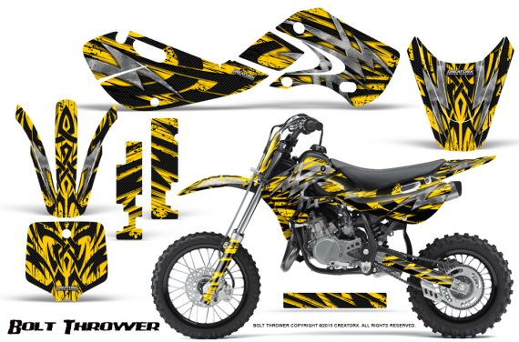 Kawasaki KLX110 KX65 Graphics Kit Bolt Thrower Yellow 1 570x376 - Kawasaki KX65 2002-2017 Graphics