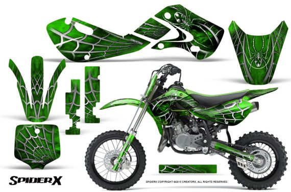 Kawasaki KLX110 KX65 Graphics Kit SpiderX Green 570x376 - Kawasaki KX65 2002-2017 Graphics