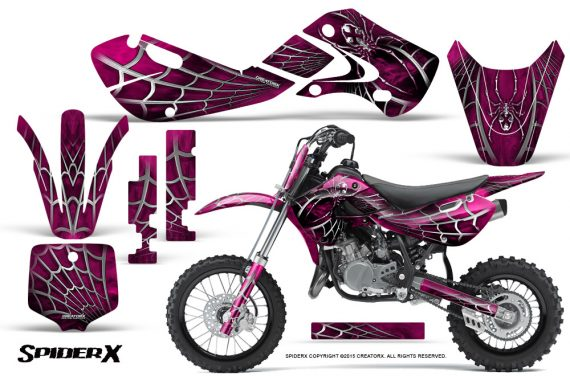 Kawasaki KLX110 KX65 Graphics Kit SpiderX Pink 570x376 - Kawasaki KX65 2002-2017 Graphics