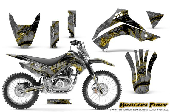 Kawasaki KLX140 08 14 Graphics Kit Dragon Fury Yellow Silver NP Rims 570x376 - Kawasaki KLX140 2008-2017 Graphics