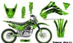 Kawasaki KLX140 08 16 Graphics Kit Tribal Bolts Green NP Rims 150x90 - Kawasaki KLX140 2008-2017 Graphics