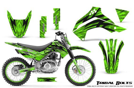 Kawasaki KLX140 08 16 Graphics Kit Tribal Bolts Green NP Rims 570x376 - Kawasaki KLX140 2008-2017 Graphics