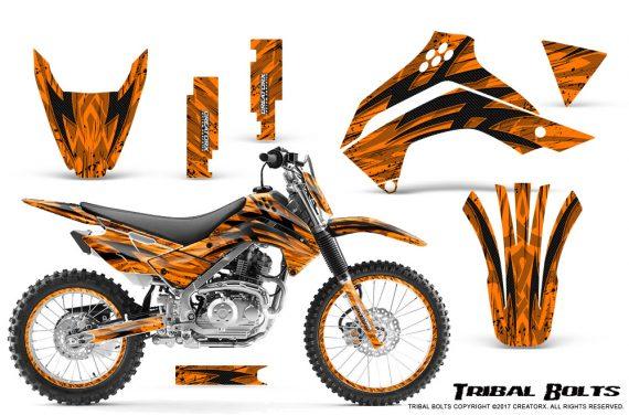 Kawasaki KLX140 08 16 Graphics Kit Tribal Bolts Orange NP Rims 570x376 - Kawasaki KLX140 2008-2017 Graphics