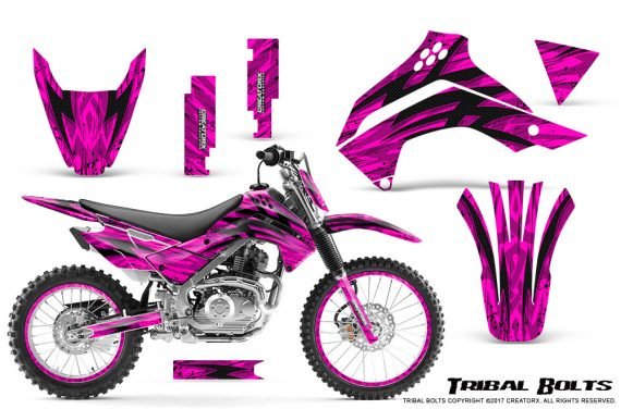 Kawasaki KLX140 08 16 Graphics Kit Tribal Bolts Pink NP Rims 570x376 - Kawasaki KLX140 2008-2017 Graphics