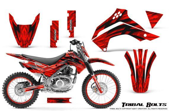 Kawasaki KLX140 08 16 Graphics Kit Tribal Bolts Red NP Rims 570x376 - Kawasaki KLX140 2008-2017 Graphics