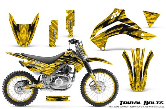 Kawasaki KLX140 08 16 Graphics Kit Tribal Bolts Yellow NP Rims 570x376 - Kawasaki KLX140 2008-2017 Graphics