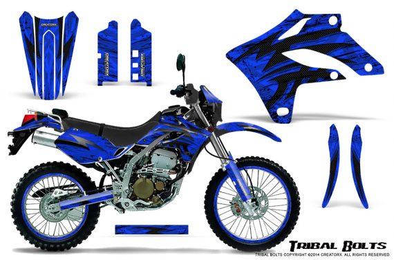 Kawasaki KLX250 04 07 Graphics Kit Tribal Bolts Blue NP Rims 570x376 - Kawasaki KLX250 2004-2007 Graphics