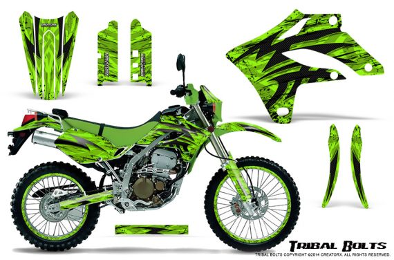 Kawasaki KLX250 04 07 Graphics Kit Tribal Bolts Green NP Rims 570x376 - Kawasaki KLX250 2004-2007 Graphics
