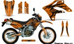 Kawasaki KLX250 04 07 Graphics Kit Tribal Bolts Orange NP Rims 150x90 - Kawasaki KLX250 2004-2007 Graphics