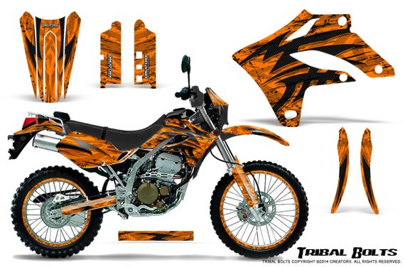 Kawasaki KLX250 04 07 Graphics Kit Tribal Bolts Orange NP Rims 570x376 - Kawasaki KLX250 2004-2007 Graphics