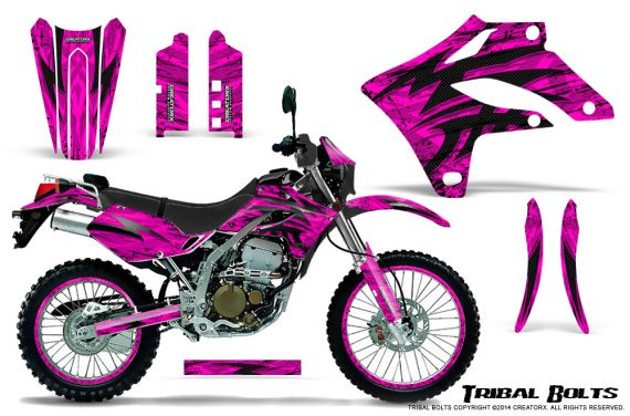 Kawasaki KLX250 04 07 Graphics Kit Tribal Bolts Pink NP Rims 570x376 - Kawasaki KLX250 2004-2007 Graphics
