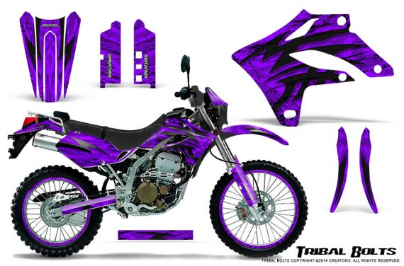 Kawasaki KLX250 04 07 Graphics Kit Tribal Bolts Purple NP Rims 570x376 - Kawasaki KLX250 2004-2007 Graphics