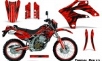 Kawasaki KLX250 04 07 Graphics Kit Tribal Bolts Red NP Rims 150x90 - Kawasaki KLX250 2004-2007 Graphics