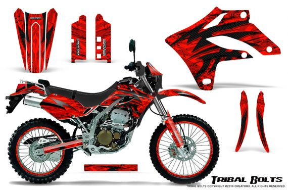 Kawasaki KLX250 04 07 Graphics Kit Tribal Bolts Red NP Rims 570x376 - Kawasaki KLX250 2004-2007 Graphics