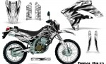 Kawasaki KLX250 04 07 Graphics Kit Tribal Bolts White NP Rims 150x90 - Kawasaki KLX250 2004-2007 Graphics