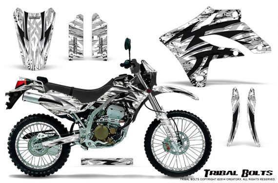 Kawasaki KLX250 04 07 Graphics Kit Tribal Bolts White NP Rims 570x376 - Kawasaki KLX250 2004-2007 Graphics