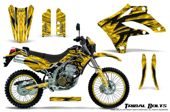 Kawasaki KLX250 04 07 Graphics Kit Tribal Bolts Yellow NP Rims 570x376 - Kawasaki KLX250 2004-2007 Graphics