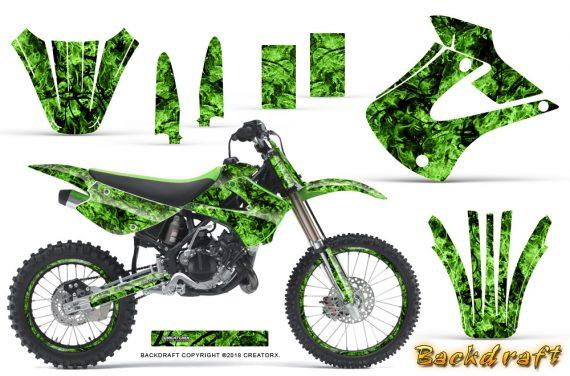 Kawasaki KX85 KX100 01 13 CreatorX Graphics Kit Backdraft Green NP Rims 570x376 - Kawasaki KX85 KX100 2001-2013 Graphics