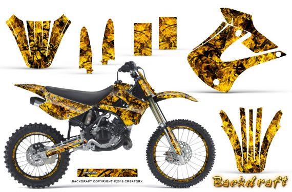 Kawasaki KX85 KX100 01 13 CreatorX Graphics Kit Backdraft Yellow NP Rims 570x376 - Kawasaki KX85 KX100 2001-2013 Graphics