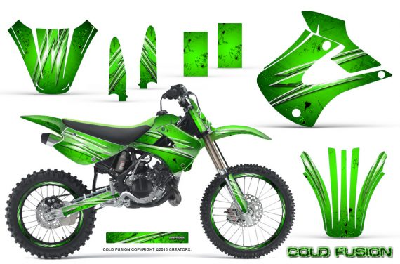 Kawasaki KX85 KX100 01 13 CreatorX Graphics Kit Cold Fusion Green NP Rims 570x376 - Kawasaki KX85 KX100 2001-2013 Graphics