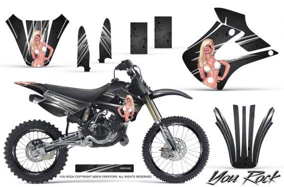 Kawasaki KX85 KX100 01 13 CreatorX Graphics Kit You Rock Black NP Rims 570x376 - Kawasaki KX85 KX100 2001-2013 Graphics