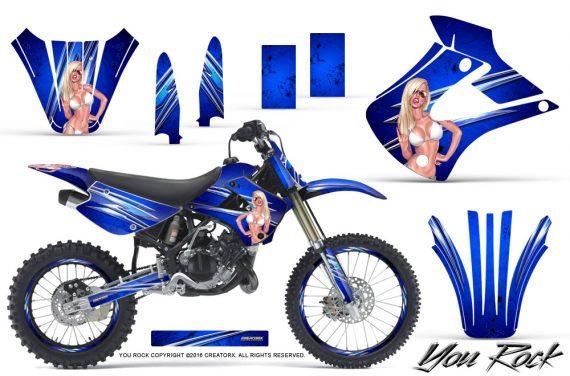 Kawasaki KX85 KX100 01 13 CreatorX Graphics Kit You Rock Blue NP Rims 570x376 - Kawasaki KX85 KX100 2001-2013 Graphics
