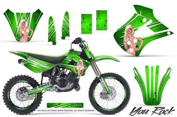 Kawasaki KX85 KX100 01 13 CreatorX Graphics Kit You Rock Green NP Rims 570x376 - Kawasaki KX85 KX100 2001-2013 Graphics