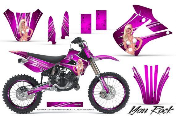 Kawasaki KX85 KX100 01 13 CreatorX Graphics Kit You Rock Pink NP Rims 570x376 - Kawasaki KX85 KX100 2001-2013 Graphics