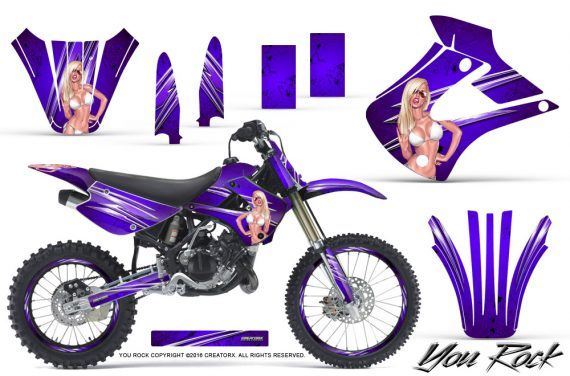 Kawasaki KX85 KX100 01 13 CreatorX Graphics Kit You Rock Purple NP Rims 570x376 - Kawasaki KX85 KX100 2001-2013 Graphics