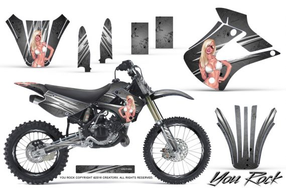 Kawasaki KX85 KX100 01 13 CreatorX Graphics Kit You Rock Silver NP Rims 570x376 - Kawasaki KX85 KX100 2001-2013 Graphics