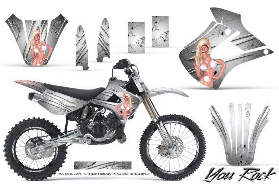 Kawasaki KX85 KX100 01 13 CreatorX Graphics Kit You Rock White NP Rims 570x376 - Kawasaki KX85 KX100 2001-2013 Graphics