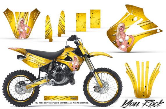 Kawasaki KX85 KX100 01 13 CreatorX Graphics Kit You Rock Yellow NP Rims 570x376 - Kawasaki KX85 KX100 2001-2013 Graphics