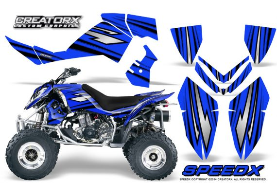 Outlaw 500 06 08 CreatorX Graphics Kit SpeedX Black Blue 570x376 - Polaris Outlaw 450/500/525 2006-2008 Graphics