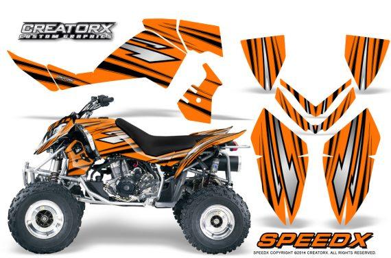 Outlaw 500 06 08 CreatorX Graphics Kit SpeedX Black Orange 570x376 - Polaris Outlaw 450/500/525 2006-2008 Graphics