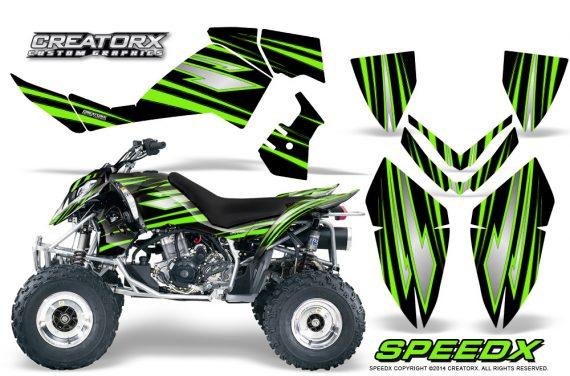 Outlaw 500 06 08 CreatorX Graphics Kit SpeedX Green Black 570x376 - Polaris Outlaw 450/500/525 2006-2008 Graphics