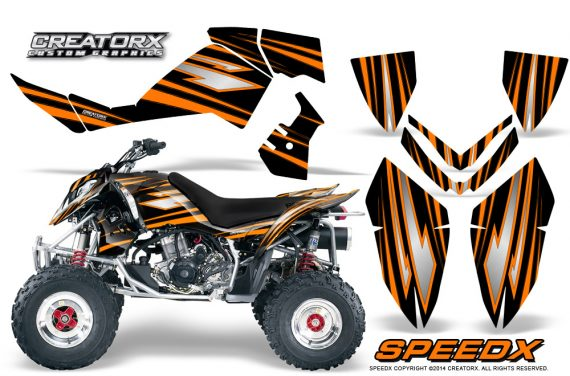 Outlaw 500 06 08 CreatorX Graphics Kit SpeedX Orange Black 570x376 - Polaris Outlaw 450/500/525 2006-2008 Graphics