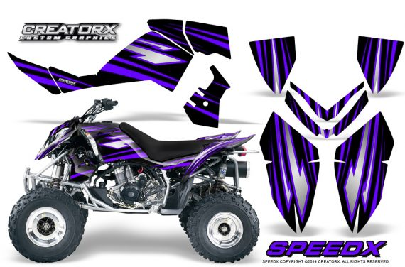 Outlaw 500 06 08 CreatorX Graphics Kit SpeedX Purple Black 570x376 - Polaris Outlaw 450/500/525 2006-2008 Graphics