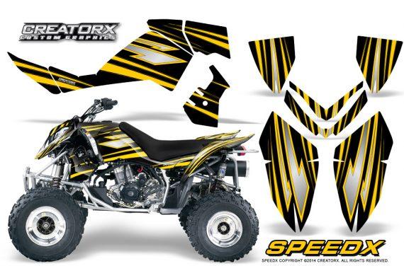 Outlaw 500 06 08 CreatorX Graphics Kit SpeedX Yellow Black 570x376 - Polaris Outlaw 450/500/525 2006-2008 Graphics