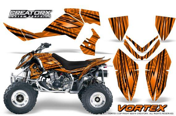 Outlaw 500 06 08 CreatorX Graphics Kit Vortex Black Orange 570x376 - Polaris Outlaw 450/500/525 2006-2008 Graphics