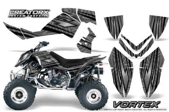 Outlaw 500 06 08 CreatorX Graphics Kit Vortex Black Silver 570x376 - Polaris Outlaw 450/500/525 2006-2008 Graphics