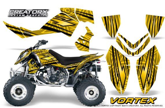 Outlaw 500 06 08 CreatorX Graphics Kit Vortex Black Yellow 570x376 - Polaris Outlaw 450/500/525 2006-2008 Graphics