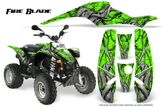 POLARIS Scrambler 500 Trailblazer 350 500 CreatorX Graphics Kit Fire Blade Black Green 570x376 - Polaris Scrambler Trailblazer 1985-2009 Graphics