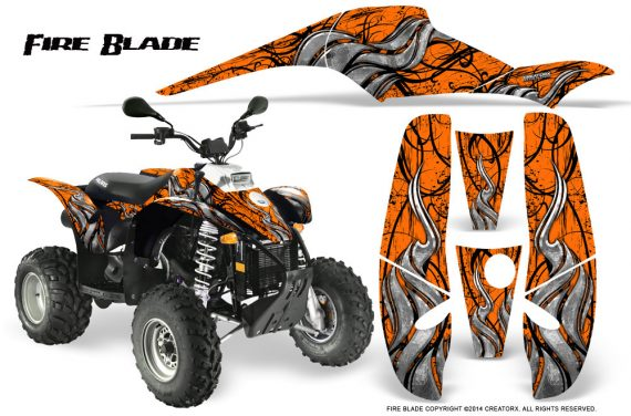 POLARIS Scrambler 500 Trailblazer 350 500 CreatorX Graphics Kit Fire Blade Black Orange 570x376 - Polaris Scrambler Trailblazer 1985-2009 Graphics