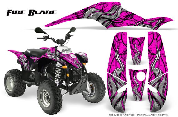POLARIS Scrambler 500 Trailblazer 350 500 CreatorX Graphics Kit Fire Blade Black Pink 570x376 - Polaris Scrambler Trailblazer 1985-2009 Graphics
